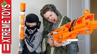 Nerf Battle Black Ops Edition! Cole Attacks Ethan with a Nerf Modulus Blaster!