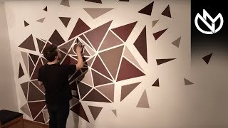 How To Paint A PERFECT Geometric Wall! (EASY PAINTING)