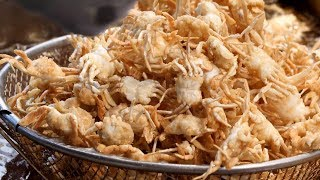 fried mini crab, shrimp, squid (바삭바삭한 베이비 크랩, 통새우, 오징어 튀김) korean street food / 인천 신포시장 수찬이네
