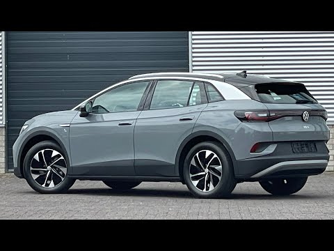 Volkswagen NEW ID4 Life 2021 in 4K Moonstone Grey 19 inch Hamar walk arond & detail inside