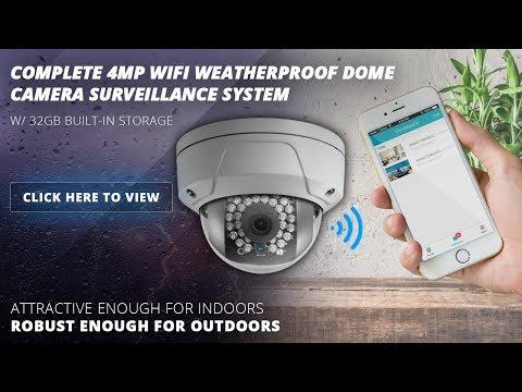 Complete 4MP Wifi Weatherproof Dome Camera Surveillance System W/ 32GB Storage