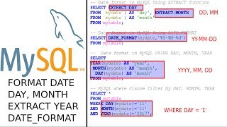 MySQL 8 how to select day, month and year from date