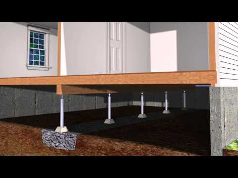 Soil conditions and improper foundation drainage, with water pooling and washing through the crawl space, can cause erosion of the soil that supports the beams holding the floor structure that is above the crawl space.
