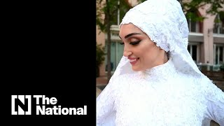 Moment Lebanese Bride Posing For Photos Is Blown Over By Blast