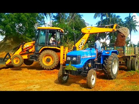 Sonalika DI - 47 RX tractor with loaded trolley | JCB 3DX | My village work