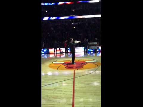 Michael Jones, performing the National Anthem at the United Center in Chicago, Illinois.