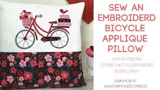 Vintage Home Sewing Embroidered Bicycle Applique Pillow