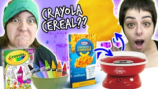 Cash OR Trash? Testing 11 WEIRD Food! Crayola Cereal, Mac & Cheese Cotton Candy