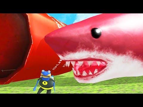 NEW RED GIANT SHARK vs NEW GIANT EXPLODING TANK! - Amazing Frog - Part 131 | Pungence