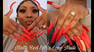 Nail Vlog   Watch Me Get My EXTRA Long Nails Done   RED MATTE SET❤️‼️