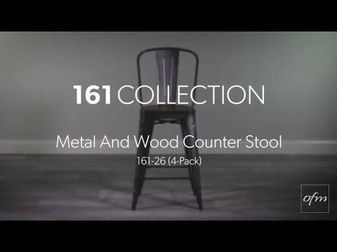OFM 161 Collection Metal Counter Stool with Walnut Seat 4PK 161-26
