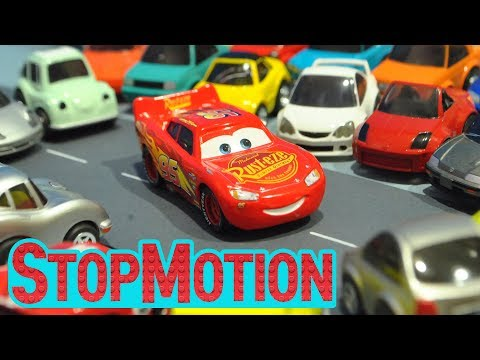 Movie Cars 3 : Lighting McQueen's Driving - Stop Motion