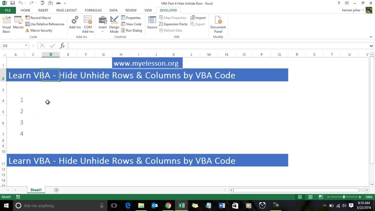 Learn VBA - Hide Unhide Row Column with VBA