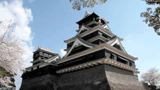 桜満開の背景で熊本城を味わう