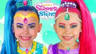 Alice as a Shimmer and Shine in Costumes PRINCESS Pretend Playing with Surprise Toys & Doll