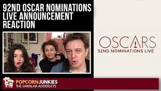 92nd OSCAR Nominations LIVE ANNOUNCEMENT - The Popcorn Junkies REACTION