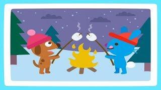 Саго Мини для детей - Собачка Харви и Кролик Джек катаются на санках