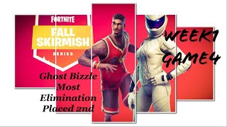 Week 1 Game4 Ghost Bizzle Most Elimination Intense Ending|| Fortnite Fall Skirmish