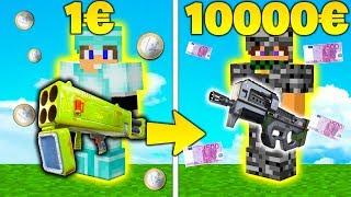 EQUIPAGGIAMENTO 10000€ vs 1€ - P90 vs LANCIARAZZI QUADRUPLO - Minecraft ITA