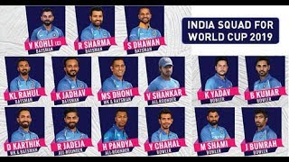 Indian Squad - World Cup 2019