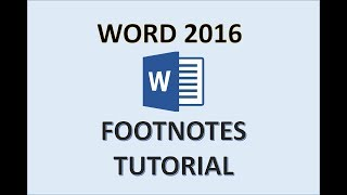 Word 2016 - Footnotes - How to Add Do Insert Make Use Put Create a Footnote Reference in Microsoft