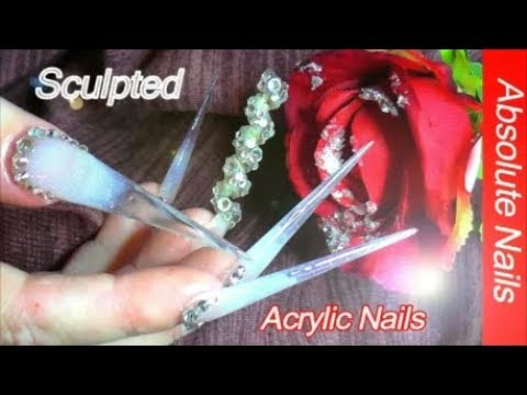 CRYSTAL SPIRAL + XXXL SCULPTED STILETTO GLASS NAILS | ABSOLUTE NAILS