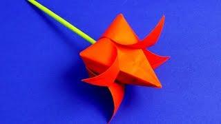 Как сделать тюльпан из бумаги своими руками   ОРИГАМИ ТЮЛЬПАН   Цветы из бумаги