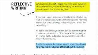 Writing a reflection