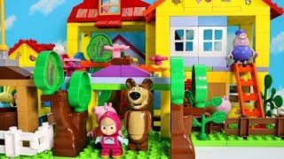 How To Build Peppa Pig Blocks Mega House Construction Lego Sets With Masha and the Bear Toys For Kid