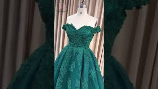 Kateprom Ball Gown Sweetheart Cap Sleeve Lace Appliques Prom Dress KPP1258