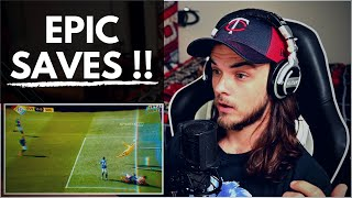 Average AMERICAN REACTS To Football / Soccer 'Impossible Saves'