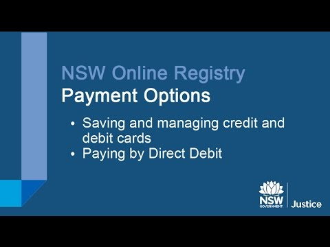 NSW Online Registry - Payment Options