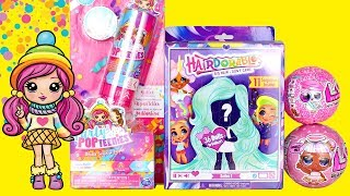 Surprise Dolls Opening Hairdorables LOL Surprise Glitter Glam Party Popteenies Toy Unboxing for Kids