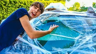 FILLED CAR WITH PACKING PEANUTS & BUBBLE WRAPPED IT! (PRANK)