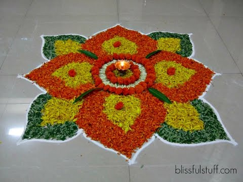 beautiful onam pookalam designs with marigold flowers by poonam borkar