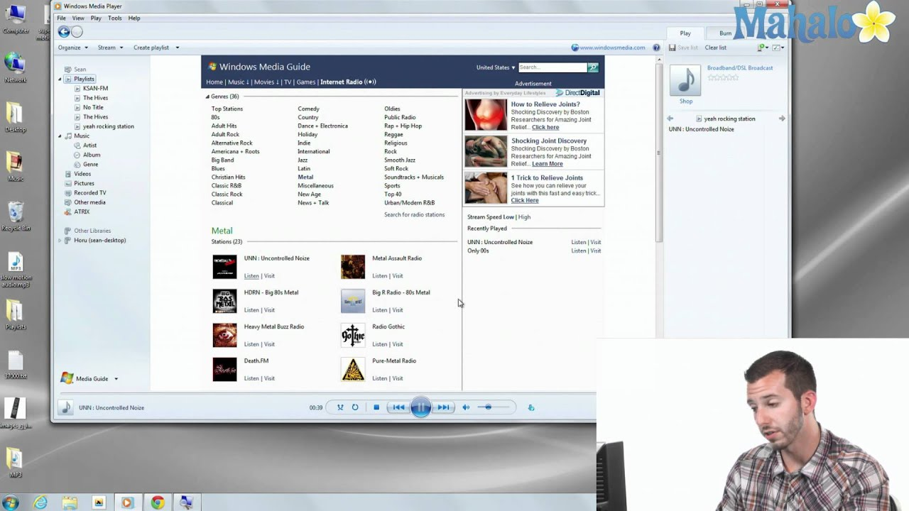 Internet radio in windows media player
