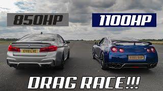 DRAG RACE!! 1100HP NISSAN GTR Vs 850HP BMW M5
