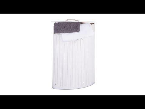 Eck Wäschekorb Bambus Weiß