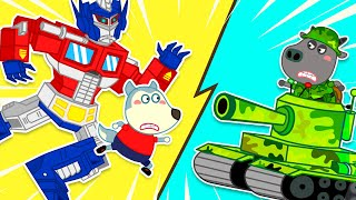 Wolf family | Wolfoo's Toy Battle: Transformers Optimus Prime vs Army Tank
