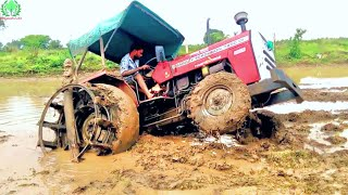 Massey Ferguson 7250 Stuck in Heavy Mud Puddling Time/ John Dheere Pulling Massey  Barely out of Mud