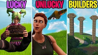 LUCKY vs UNLUCKY vs BUILDERS! Fortnite Battle Royale Funny Moments