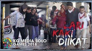 Kemeriahan Karyawan KG Media di Kantor Tribunnews Solo saat Ikuti Lomba Lari dengan Kaki Diikat Tali