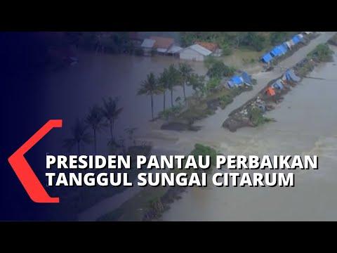 Jokowi Tinjau Perbaikan Tanggul Sungai Citarum yang Jebol