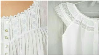 Simple And Stylish Unique Style Lace & Plates Detailing On Night Gown Dresses