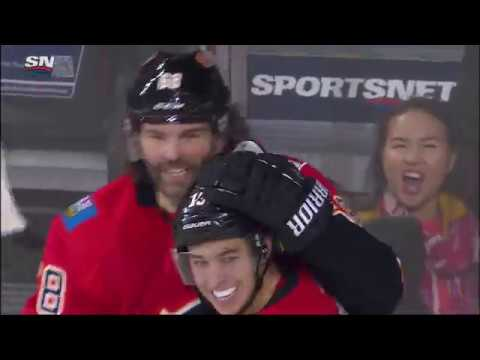 Jaromir Jagr scores his first goal as a Calgary Flame