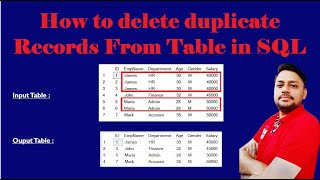 How to delete duplicate records from a table in SQL |  How to delete duplicate rows in SQL