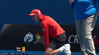 Ball Kid Hit By A Feliciano Lopez Serve | Australian Open 2015