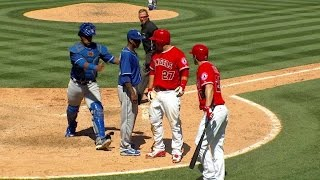 KC@LAA: Benches clear after Pujols