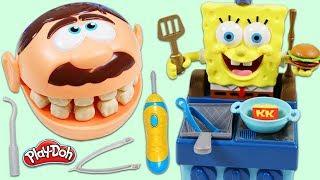 Feeding Mr. Play Doh Head with SpongeBob SquarePants Krabby Patty Grill!