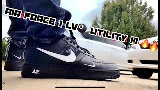 new style 569f8 1cbf5 Air Force 1 Lv8 Black Utility on feet!